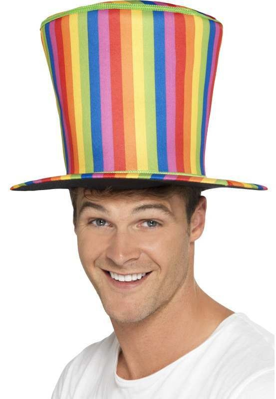 Mens Rainbow Top Hat Fancy Dress Accessory
