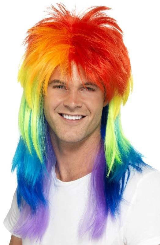 80'S Rainbow Mullet Wig Fancy Dress Accessory