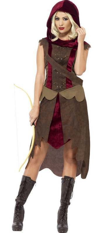 Ladies Green Robin Huntress Fancy Dress Costume
