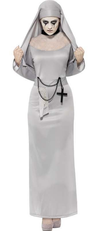 Ladies Grey Deathly Gothic Nun Halloween Fancy Dress Costume