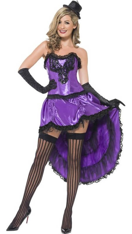 Ladies Purple Burlesque Glamour Showgirl Fancy Dress Costume