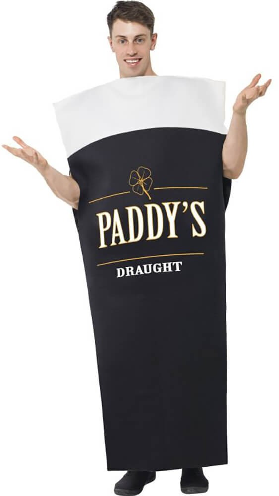 Mens Black & White Paddy's Draught Fancy Dress Costume