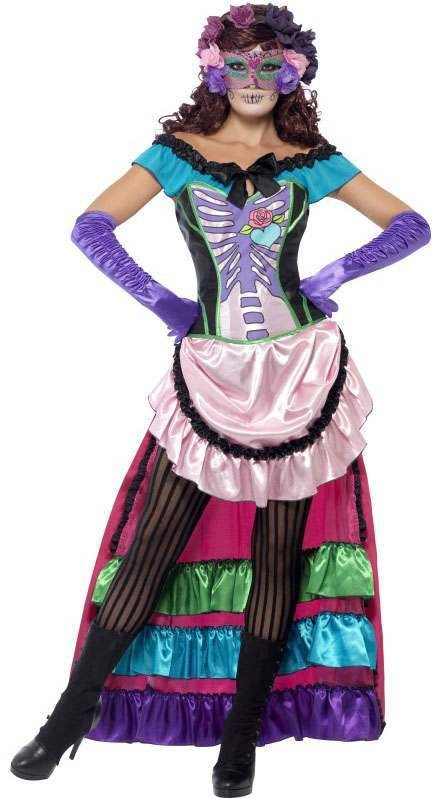 Ladies Pink Day Of The Dead Sugar Skull  (Fancy Dress Costume)