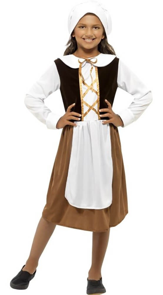 Girls Poor Tudor Girl Fancy Dress Costume
