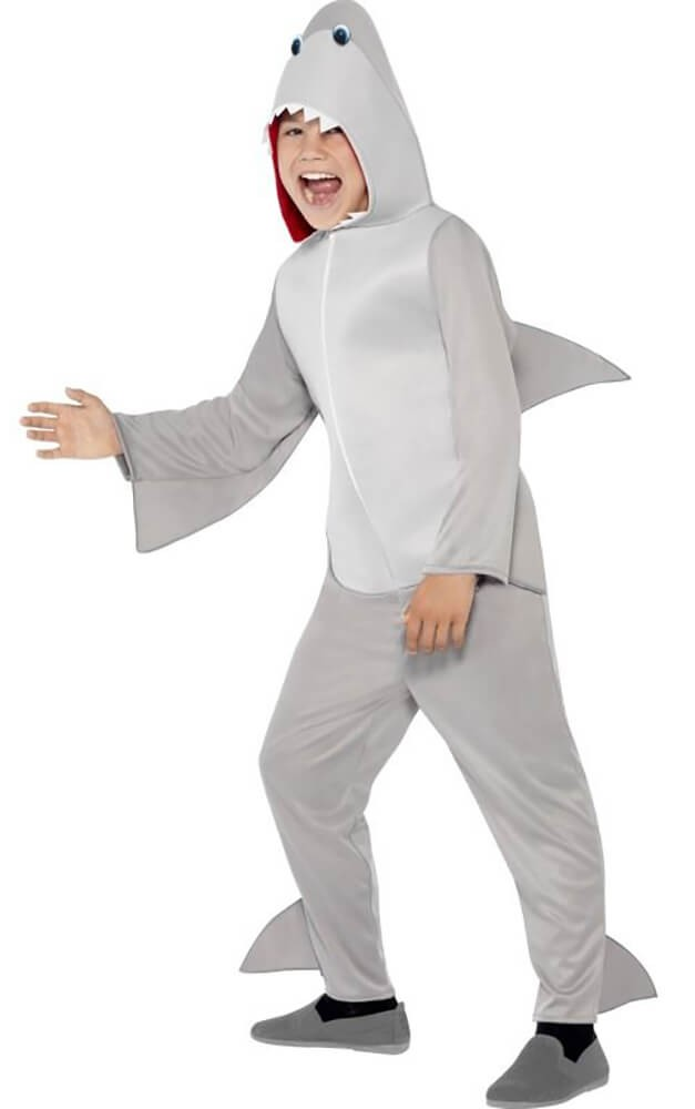 Childs Grey Shark Onesie Fancy Dress Costume