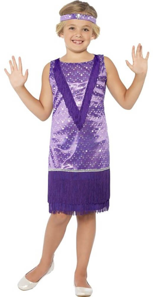 Girls Purple 1920's Tallulah Flapper Girl Fancy Dress Costume