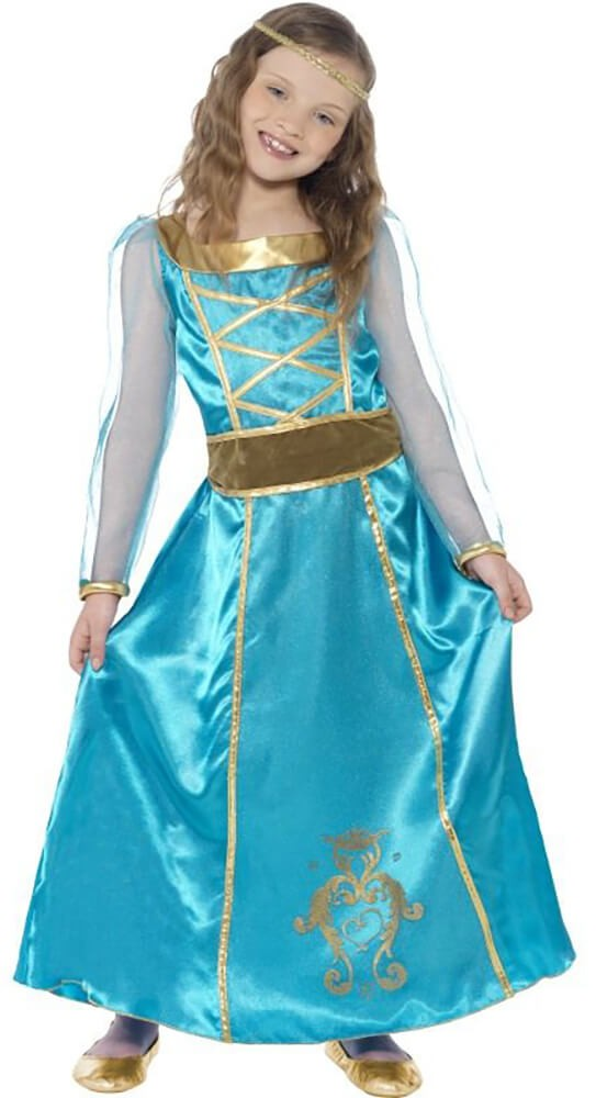 Girls Blue Medieval Maid Fancy Dress Costume