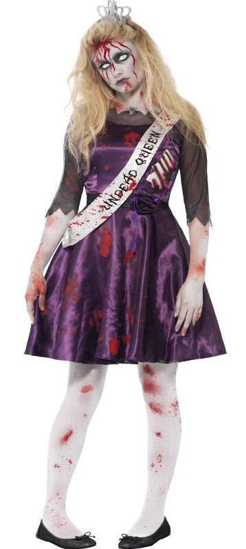 Teen Purple Zombie Prom Queen Halloween Fancy Dress Costume