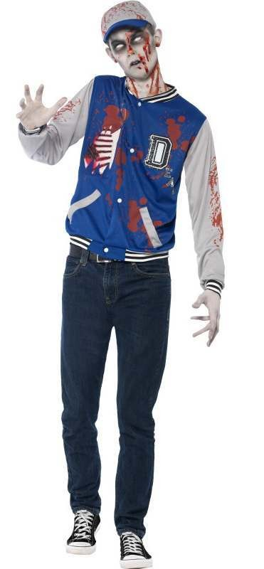Teen Highschool Zombie Jock Halloween Fancy Dress Costume