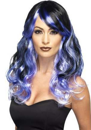 Ladies Purple Ombre Midnight Siren Wig Halloween Accessory