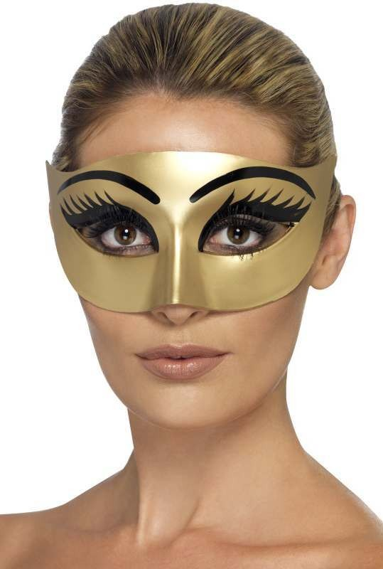 Ladies Gold Evil Clepatra Halloween Eyemask Accessory