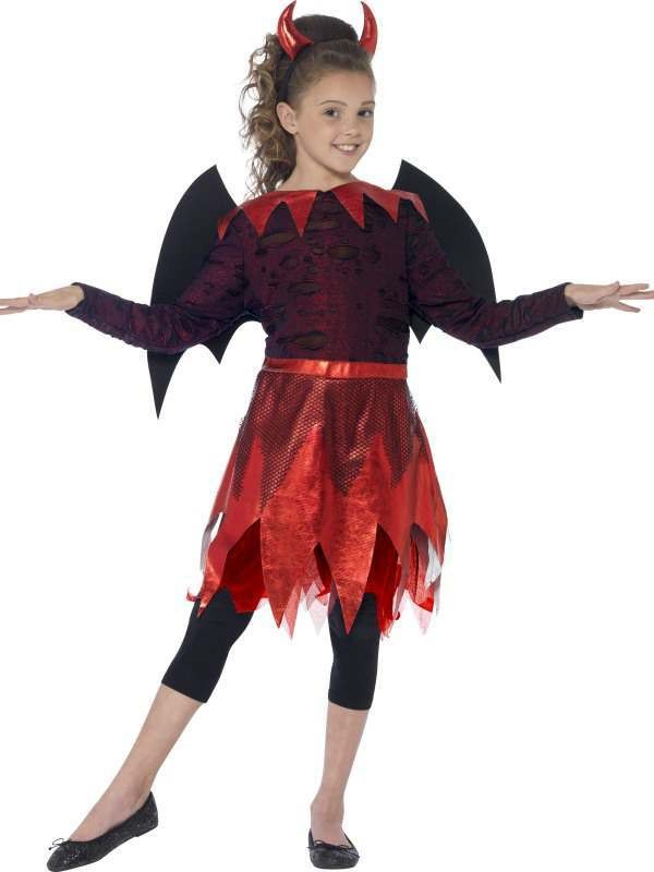 Girl'S Red Deluxe Devilish Halloween Fancy Dress Costume