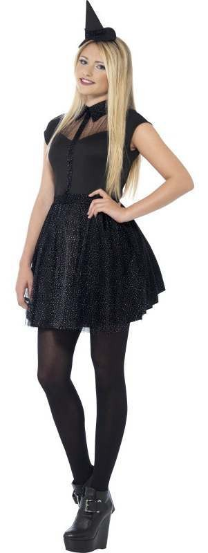 Teen Black Glitter Witch Halloween Fancy Dress Costume