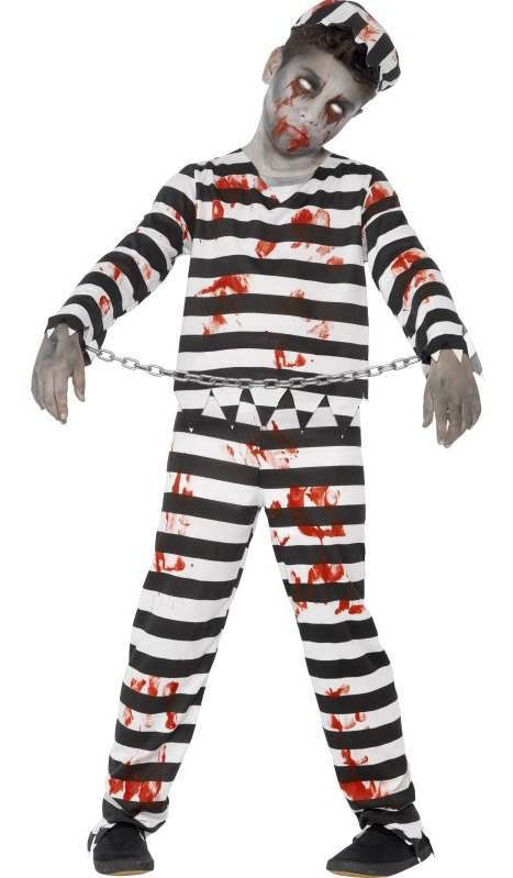 Boy'S Zombie Convict Halloween Fancy Dress Costume