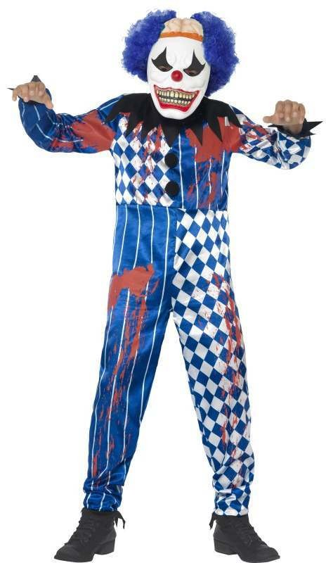 Boy'S Deluxe Sinister Circus Clown Halloween Fancy Dress Costume
