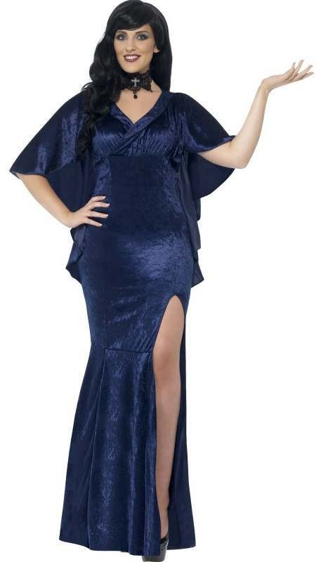 Ladies Blue Curves Spellbinding Sorceress Halloween Fancy Dress Costume