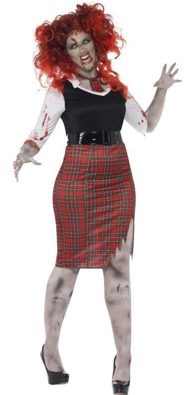 Ladies Curves Zombie School Girl Halloween Fancy Dress Costume