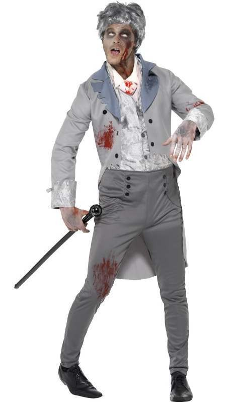 Men'S Zombie Victorian Gent Halloween Fancy Dress Costume