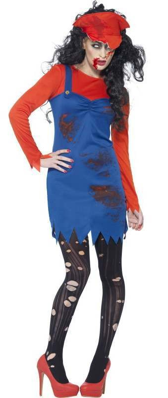 Ladies Zombie Video Game Plumber Halloween Fancy Dress Costume