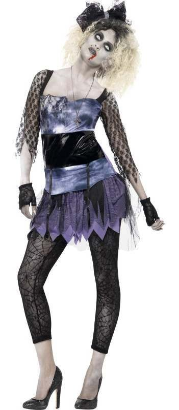 Ladies 80'S Wild Child Pop Star Halloween Fancy Dress Costume