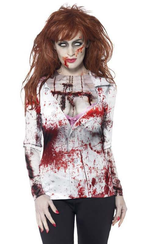 Ladies Blood Splatter Zombie Shirt T-Shirt Halloween Accessory