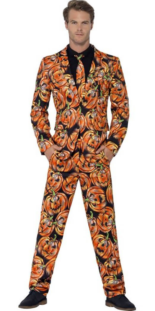 Mens Orange Pumpkin Halloween Stand out Suit Fancy Dress Costume