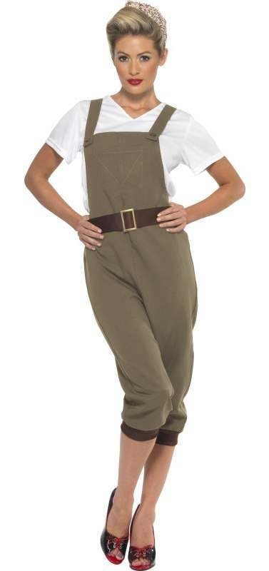 Ladies Green Ww2 Land Girl Fancy Dress Costume
