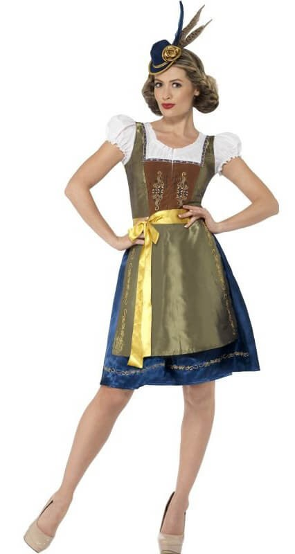 Ladies Green Traditional Deluxe Heidi Bavarian Fancy Dress Costume