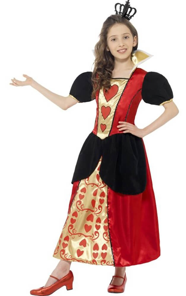 Girls Miss Queen Of Hearts Fancy Dress Costume