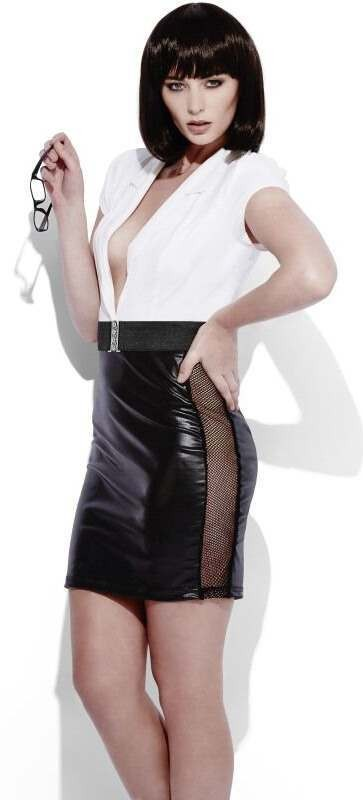 Ladies Sexy Fever Role-Play Secretary Wet Look Fancy Dress Costume
