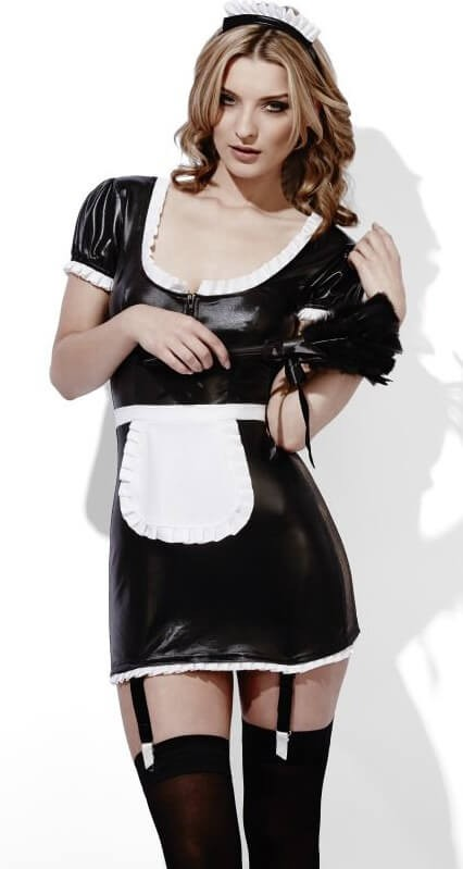 Ladies Sexy Fever Role-Play French Maid Wet Look Fancy Dress Costume
