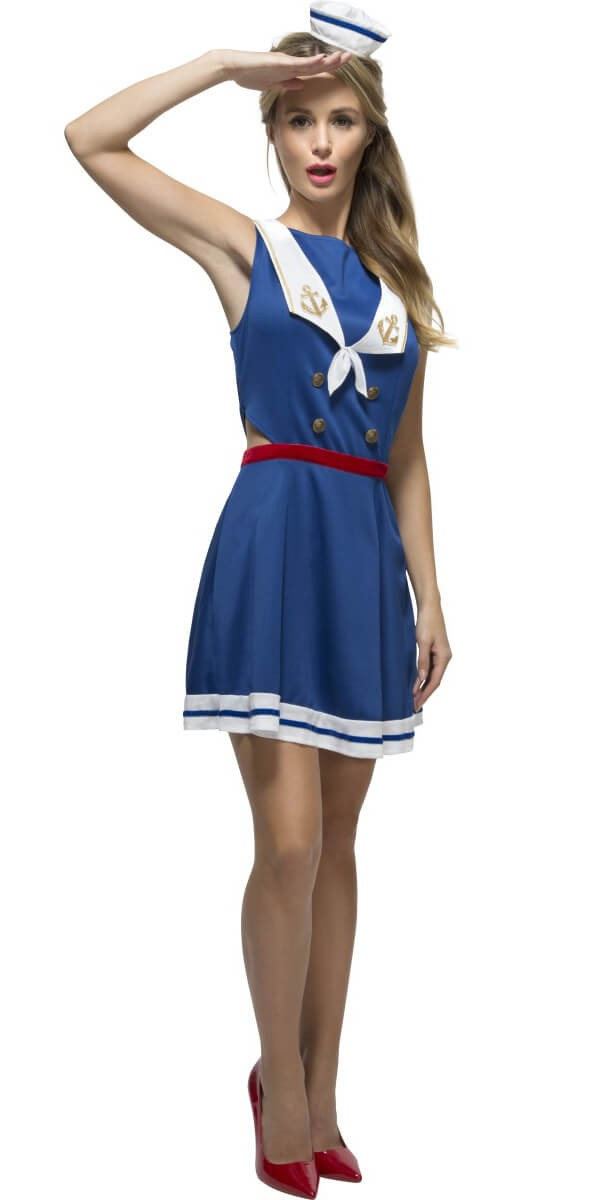 Ladies Blue Fever Hey Sailor Fancy Dress Costume