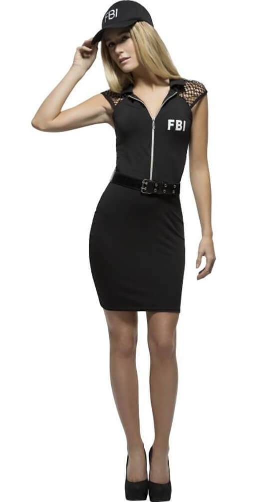 Ladies Black Fever FBI Fancy Dress Costume