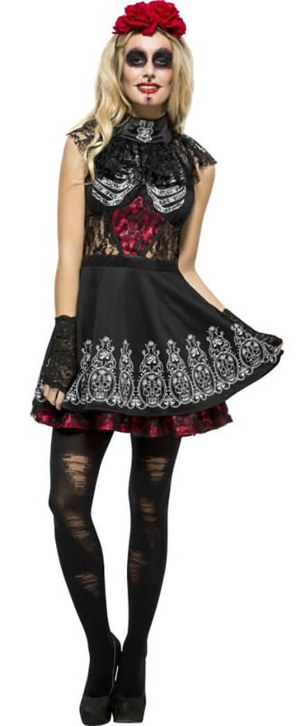 Ladies Black Fever Day Of The Dead Halloween Fancy Dress Costume