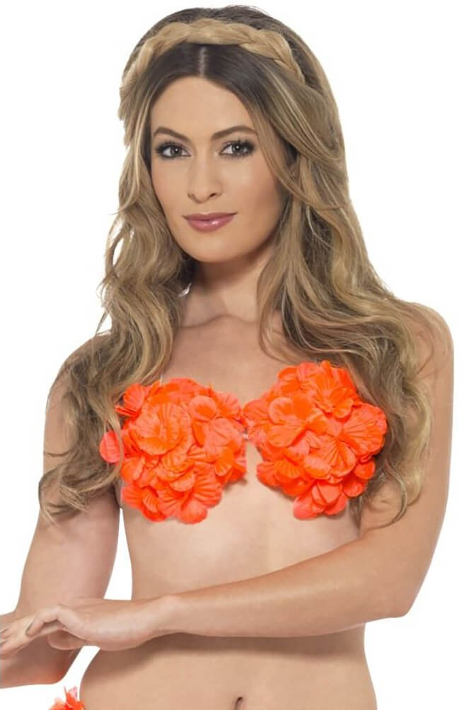 Ladies Neon Orange Hawaiian Flowered Bra Fancy Dress Accessory