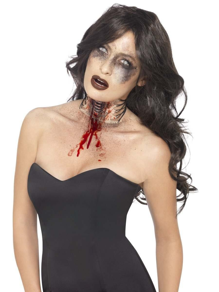 Zombie Exposed Throat Wound Fancy Dress Accessory