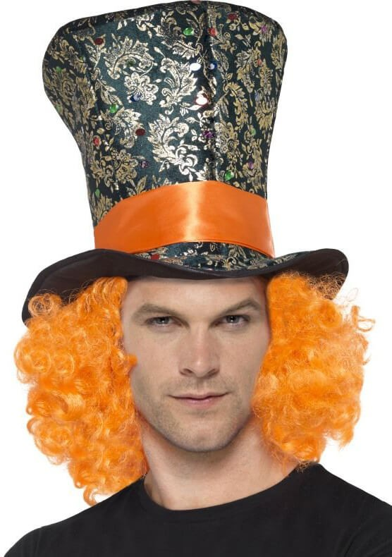 Adults Top Hat With Attached Orange Hair Fancy Dress Accessory