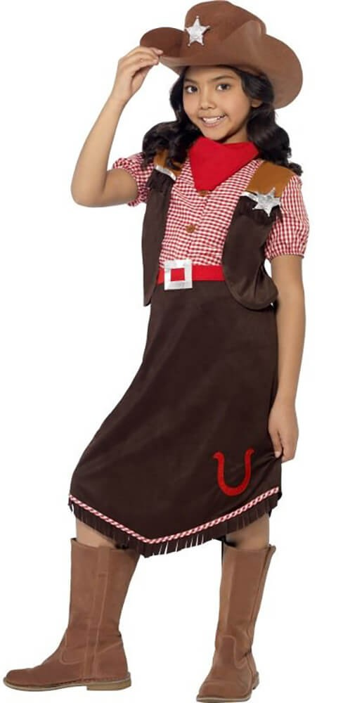 Girls Brown Deluxe Cowgirl Fancy Dress Costume