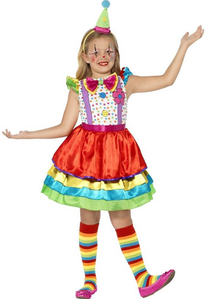 Girls Deluxe Clown Fancy Dress Costume
