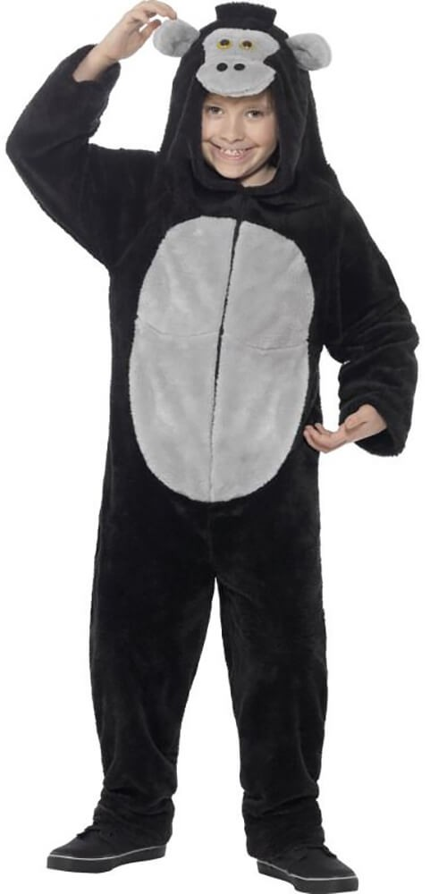 Childs Black Gorilla Onesie Fancy Dress Costume