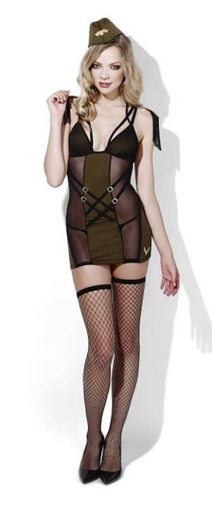 Ladies Sexy Fever Army Major Fancy Dress Costume