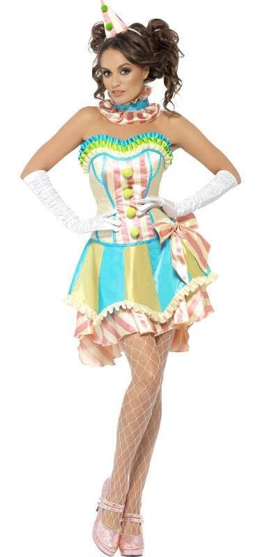 Ladies Fever Deluxe Vintage Circus Clown Fancy Dress Costume