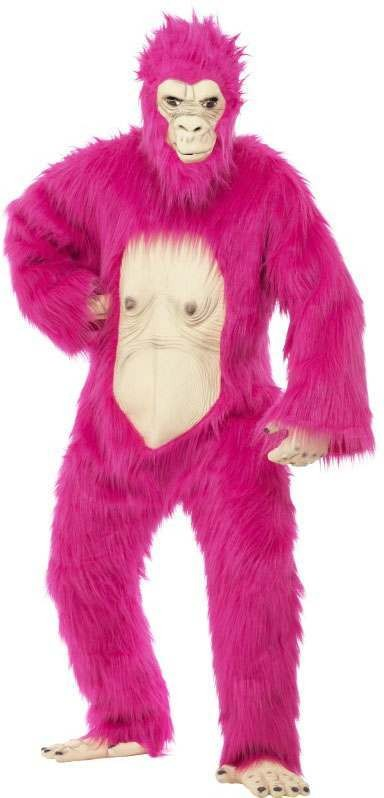 Mens Neon Pink Deluxe Gorilla  (Fancy Dress Costume)