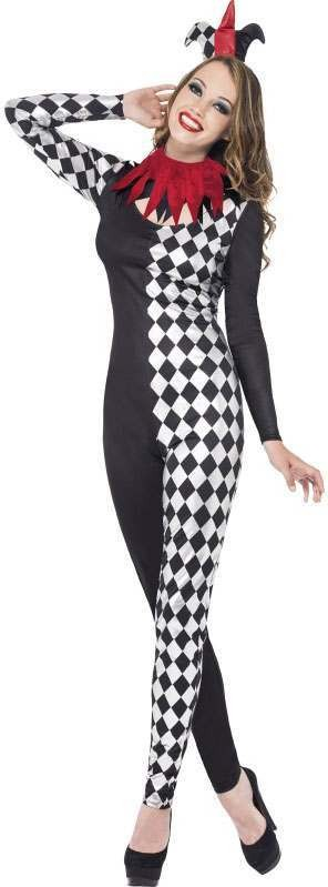Ladies Black Fever Harlequin Jester  (Fancy Dress Costume)