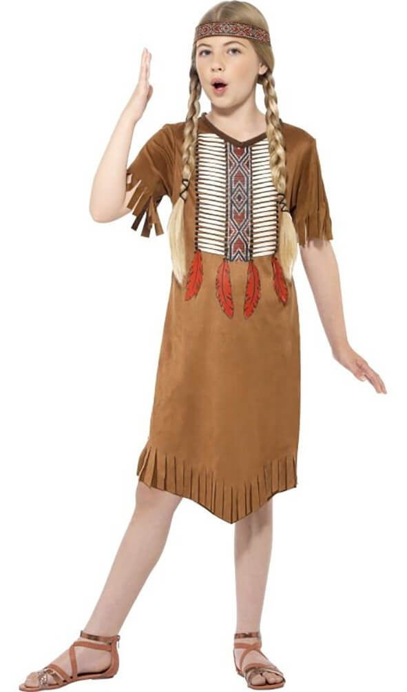 Girls Brown Native Indian Fancy Dress Costume
