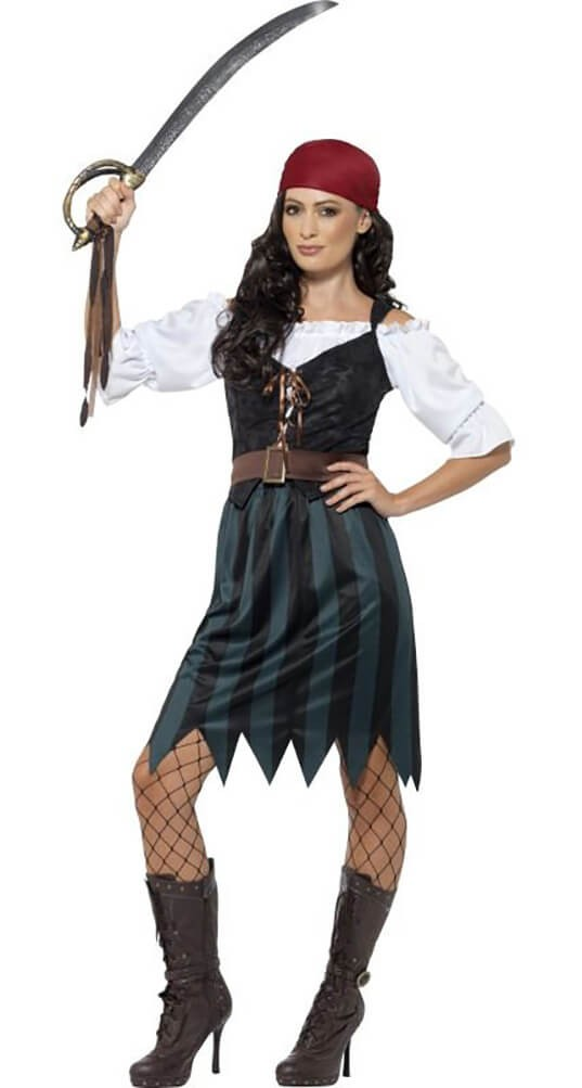 Ladies Blue Pirate Deckhand Fancy Dress Costume