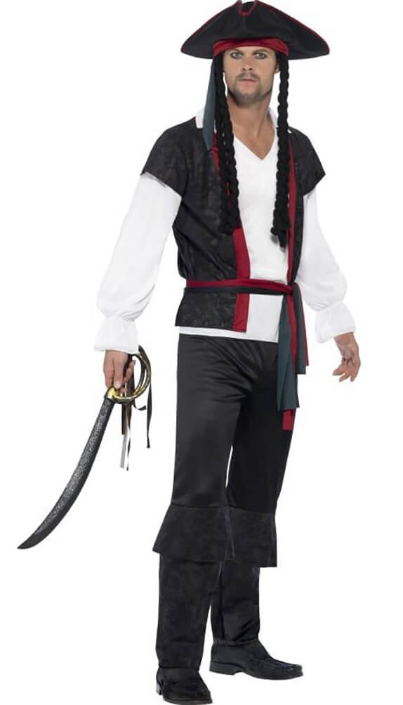 Mens Aye Aye Pirate Captain Fancy Dress Costume