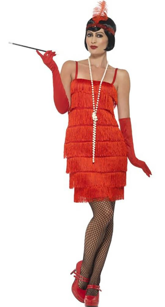 Ladies Short Red Flapper Fancy Dress Costume