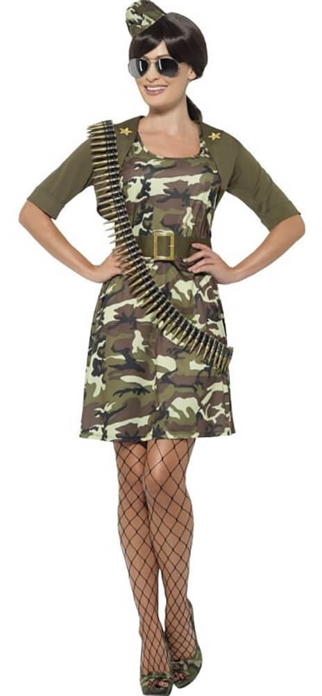 Ladies Green Camo Combat Cadet Fancy Dress Costume