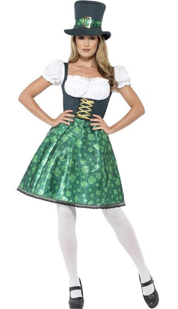 Ladies Green Leprechaun Lass Fancy Dress Costume